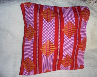 Cover for pillow 40 on 40 printed canvas red, pink and gilded gold wax.