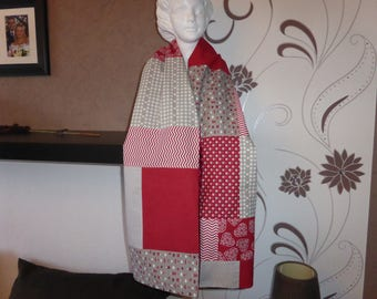 Patchwork scarf - cherry and beige tones