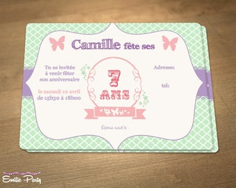 "Personalized printable birthday invitation theme: ""butterflies"""