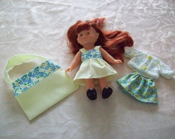 2 outfits for 20 cm:type corolline, dress, printed cotton skirt, doll vest made, bag