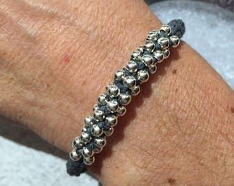 Bracelet gray and silver beads