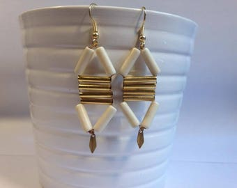 White and gold Aztec inspired Stud Earrings