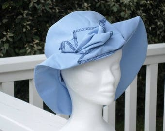 chapeau de soleil d'été femme bleu ciel créateur lin'eva