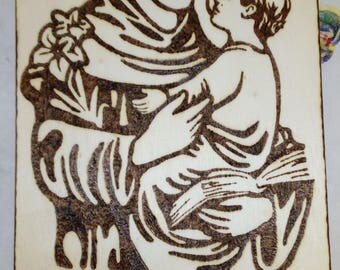 Picture Pirografato by hand. St. Anthony of Padua