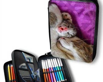 pencil case with accessories to customize the image