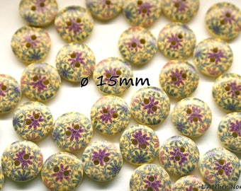 "10 buttons wood 2 hole ø15mm ""Violets"""