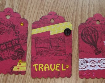 3 Red tags for your scrapbooking creations.