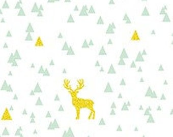 Gold Glitter Aqua Triangle Stag on White Cotton Jersey Blend Knit Fabric **UK Seller**