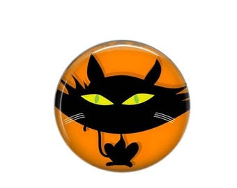 Round cabochon resin 25mm Chat Noir 04