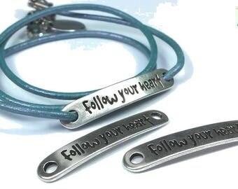 """2 connectors in zamak, """"Follow your heart"""" 7x38mm (co119)"""