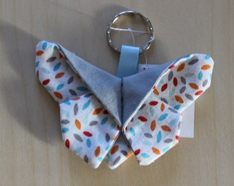 Handmade Butterfly Keychain origami - pattern petal - 9 x 6.5 cm - washable - grey and multicolor