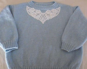 Hand knitted sky blue girl sweater size 4t