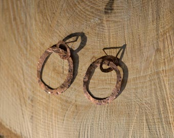 "Earrings ""earrings double circles of copper, hammered square"