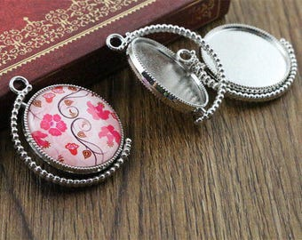 Silver 25 mm 5 Supports rotation and double-sided cabochon pendant