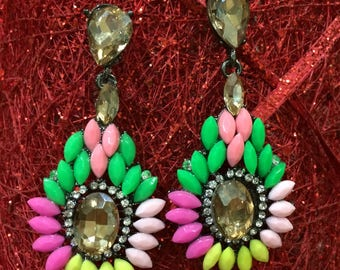Multi Crystal Long Dangling Earrings