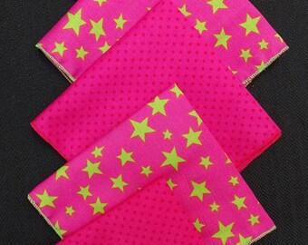 "SET of 5 handkerchiefs ""Stars"" & ""Red polka dot"" fabric"