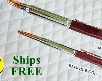 His and Hers  Pair Twist Top Bullet Pen in chrome & Blood Wood Top