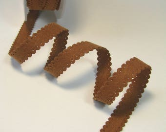"""Suede Ribbon """"lace"""", 10 mm, light brown, sold by the yard."""