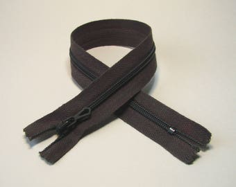 Zipper closure, 30 cm, Brown, not separable mesh plastic 4 mm.
