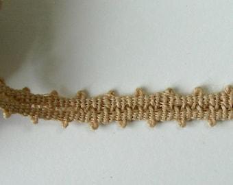 Piece of 2.50 meters Ribbon old hemp, 8 mm, beige.