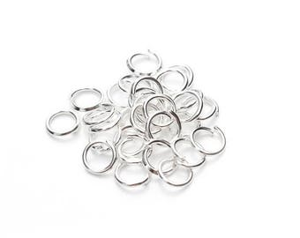 Set of 200 clear silver open jump rings 5mm - BK - DD1