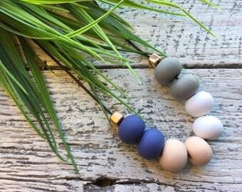 Handmade Polymer Clay Necklace - Navy/Grey/White/Beige/Rose Gold