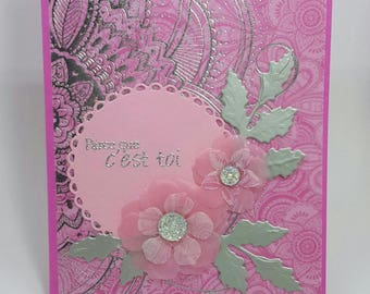 Pink tenderness, love or friendship card