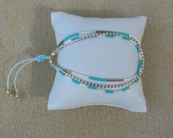 Bracelet 3 rows adjustable Miyuki turquoise white mother of Pearl and gold plated 16 kt
