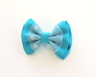 brooch turquoise bow and white tulle with polka dots