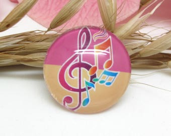25 mm glass cabochon 1 Notes music treble clef 4-25 mm
