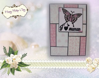 FM-2017-0007 - mother's day - black and pink lace Butterfly card