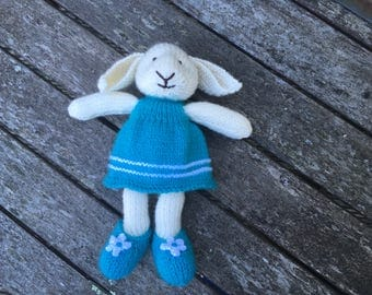 Hand knitted bunny, knitted rabbit, Alisha the bunny