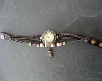 Watch Brown bracelet 20.5 cm leather