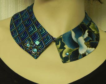 -Collar reserved - jewelry designer cotton fabric lined suede fully hand made