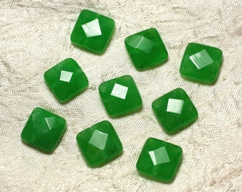 2PC - stone beads - Jade green 4558550029911 14mm faceted square