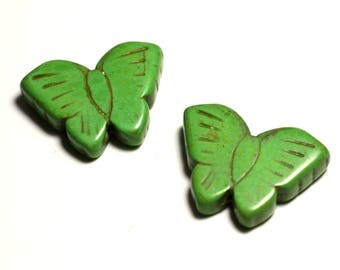 2PC - butterflies green 4558550029652 26mm synthetic Turquoise beads