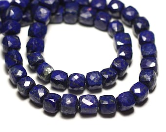 Stone - Lapis Lazuli faceted Cube 5-6mm - 8741140020184 bead 1pc-