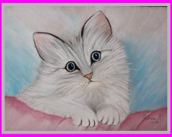 Original illustration painted in pastel on Canson 300 g/m²petit cat ♥♡♥♡♥