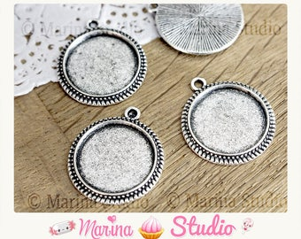10 blank cabochon pendant sign 23x20mm silver 16mm cabochon