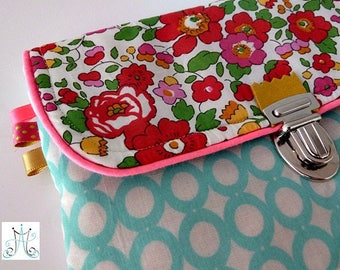 Purse PEP clasp - Mint print with water and Liberty Betsy Grenadine