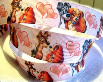 Printed grosgrain Ribbon * 25 mm * dog beautiful bum bubble heart Cartoon - sold by the yard