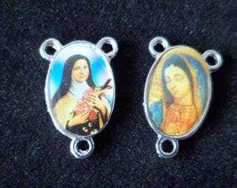 1 Center Rosary Double sided Virgin Saint Therese de Lisieux 23 x 15 mm