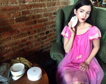 Vintage 1950's Union Made Fuchsia Pink Babydoll Nightgown Dress
