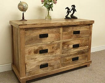 Baku mango wood 6 drawer wide chest
