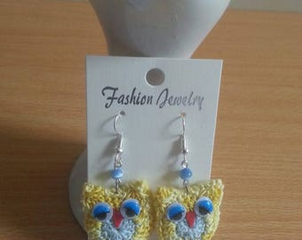 OWL earrings hand made crochet