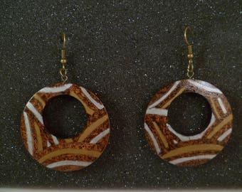 Turned wooden pyrographed bop2 earrings