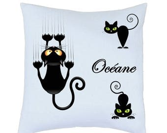 Pillow satin cat motif personalized name choice ref 81