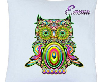 Pillow satin OWL bird motif personalized name choice ref 91