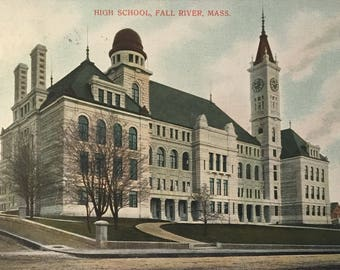 Vintage / Antique Postcard B M C Durfee High School Fall River MA