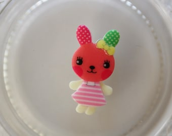 Coral and pink rabbit resin scrapbooking